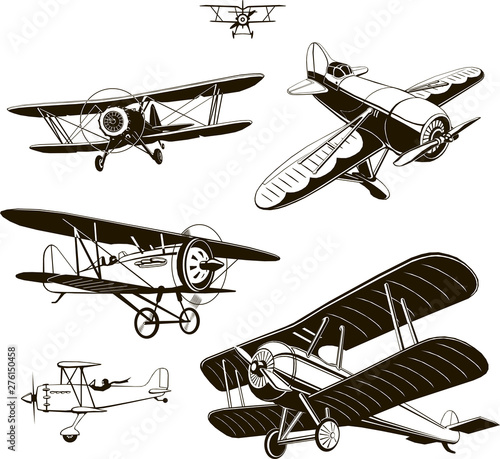 vintage biplanes set vector black old, logo, emblem, label Wallpaper Mural