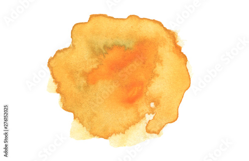 Abstract watercolor and acrylic blot painting. Yellow and orange Color design element. Texture paper. Isolated on white background.