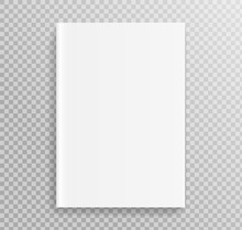Blank Book Cover, Placed On Bookshelf For Design.