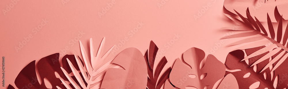 Fototapety, obrazy: top view of exotic paper cut palm leaves on pink background with copy space, panoramic shot