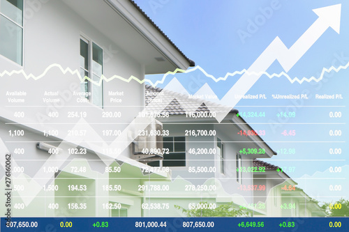 Business stock financial index data of real estate property
