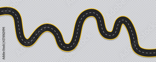 Winding road isolated on transparent background.