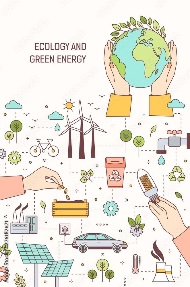 Fototapety, obrazy: Poster template with hands holding globe, lightbulb and seeds surrounded by wind and solar power plants, electric car. Ecology, green energy, electricity generation. Modern linear vector illustration.