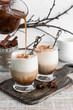 Cold iced coffee with vanilla ice cream and cinnamon