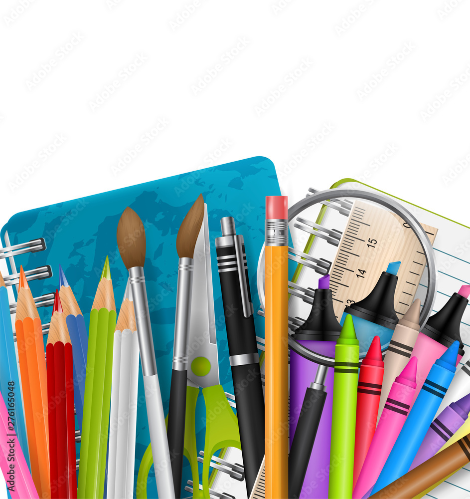 Fototapety, obrazy: School background with markers, colorful pencils, scissors, magnifier, brush, and other education supplies. Free white space for custom text. Reatistic vector illustration.