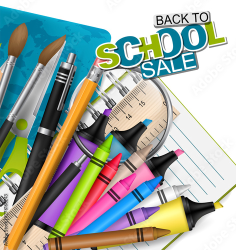 Poster Dogs Backto school sale. Background with markers, colorful pencils, scissors, magnifier, brush, spiral notebook, and other education supplies. Reatistic vector illustration.