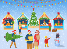 Christmas Market With People A Christmas Tree, Carousel With Horses And Houses.Vector Illustration In Flat Cartoon  Style.