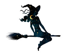 Silhouette Of Beautiful Witch Girl On A Broom With Crescent Moon And Stars In Profile Isolated Hand Drawn Vector Illustration