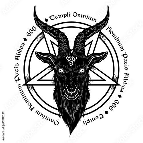 Baphomet demon goat head hand drawn print or blackwork flash tattoo art design vector illustration Canvas Print