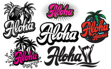 Vector Set Of Monochrome Illustrations On Aloha With A Palm