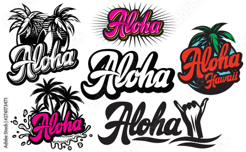 Photo Vector set of monochrome illustrations on aloha with a palm