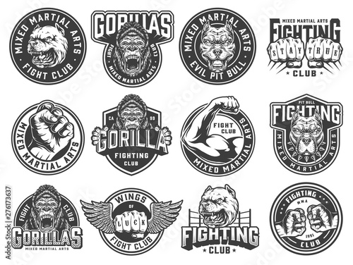 Vintage monochrome fight club labels Fototapete