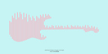 Vector Electric Guitar Shape By Equalizer Strip Line Pattern Pink Color Isolated On Pastel Blue Green Background. In Concept Of Music.