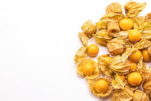 Cape Gooseberry Fruits (Physalis Peruviana)isolated On White Background.Commonly Called Goldenberry, Golden Berry, Pichuberry.