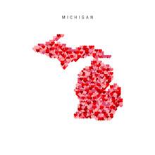 I Love Michigan. Red Hearts Pa...