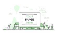 City Playground - Modern Thin Line Design Style Vector Illustration