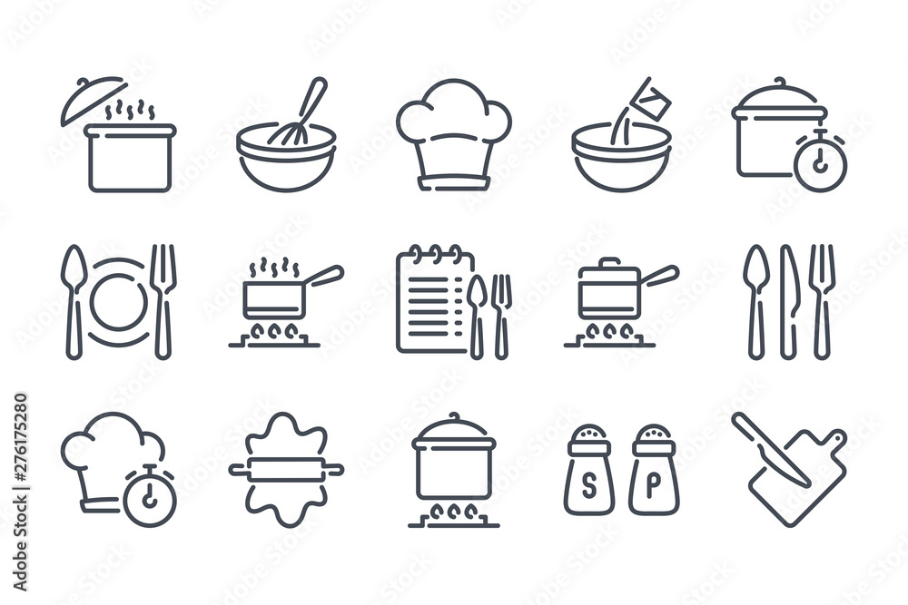 Fototapeta Cooking related line icon set. Pot, pan and kitchen utensils linear icons. Cooking recipe outline vector signs and symbols collection.