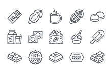 Chocolate Related Line Icon Set. Cocoa Industry Linear Icons. Cacao Outline Vector Signs And Symbols Collection.