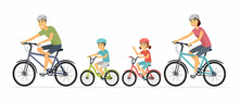 Parents And Children Cycling - Cartoon People Characters Illustration