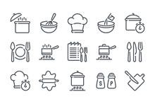 Cooking Related Line Icon Set. Pot, Pan And Kitchen Utensils Linear Icons. Cooking Recipe Outline Vector Signs And Symbols Collection.