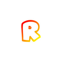 Warm Gradient Line Drawing Cartoon Letter R
