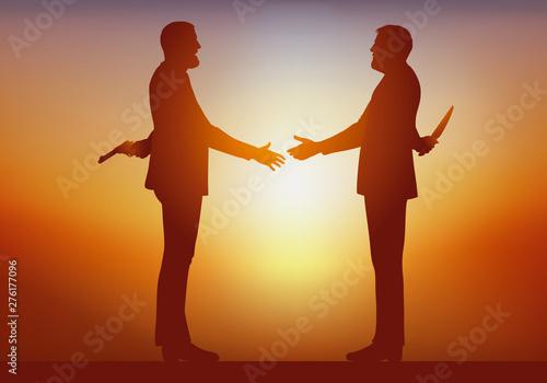 Concept du mensonge et de l'hypocrisie avec deux hommes qui se serrent la main en souriant, tout en tenant dans leurs dos, l'un un revolver, l'autre un couteau Billede på lærred