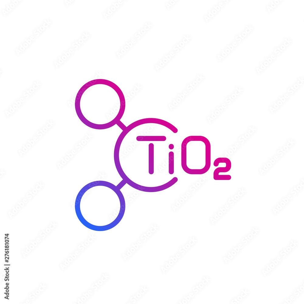 Fototapeta titanium dioxide molecule, vector line icon