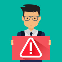 Man Holding Banner With Warning Alert Sign And Exclamation Mark Symbol, Vector Illustration