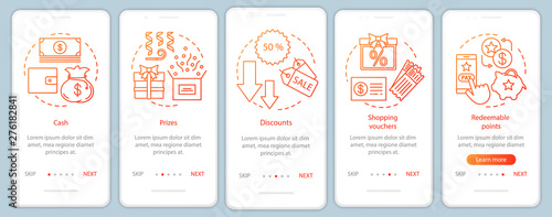 Fotografía Referral rewards onboarding mobile app page screen with linear concepts