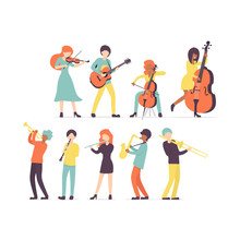 Big Flat Vector Set Group Of Musicians, Stringed Instruments: Violin, Contrabass, Cello And Guitar. Brass And Woodwind Instruments Clarinet, Saxophone, Trumpet, Flute, Trombone, .