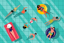 People Swimming In Swimming Pool, Top View Illustration. Vector Summer Hand Drawn Water Background.