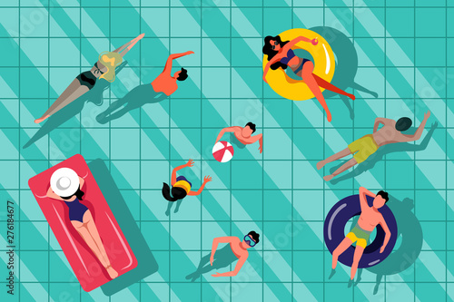 Obraz People swimming in swimming pool, top view illustration. Vector summer hand drawn water background. - fototapety do salonu