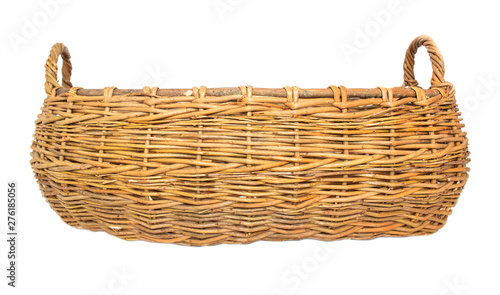 Foto Large two-hand wicker basket made of wicker on a white background, isolate