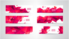 Vector Set Of Banners With Pol...