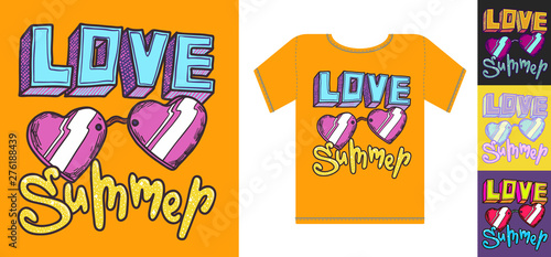 Love summer print design with t shirt mockup illustration