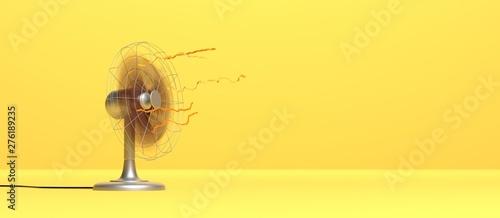 Fototapeta ventilateur en marche sur fond jaune