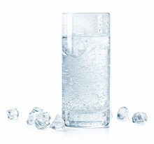 Glass Of Cold Sparkling Water And Ice
