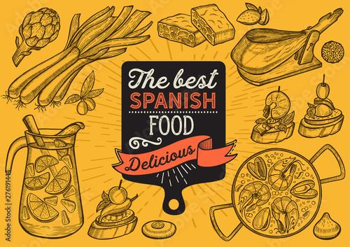 Canvas-taulu Spanish illustrations - tapas, paella, sangria, jamon, churros, calcots, turron