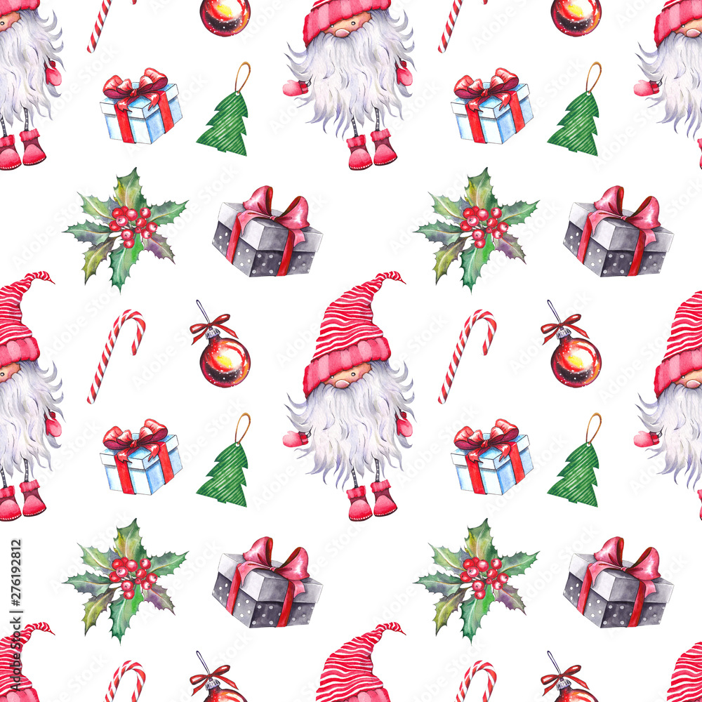 Seamless pattern with Scandinavian nissers (gnomes, elves, dwarfs, tomtars), gift boxes, holly berries, balls and candy canes. Watercolor illustration on white background.