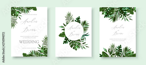 Obraz Wedding greenery tropical exotic floral invitation card save the date design - fototapety do salonu