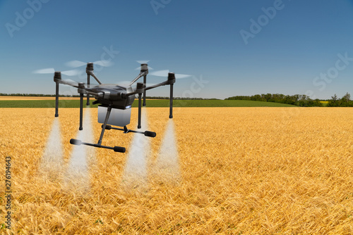 Aufkleber - Modern smart farm with drone-sprayer. Digital transformation in agriculture and smart farming