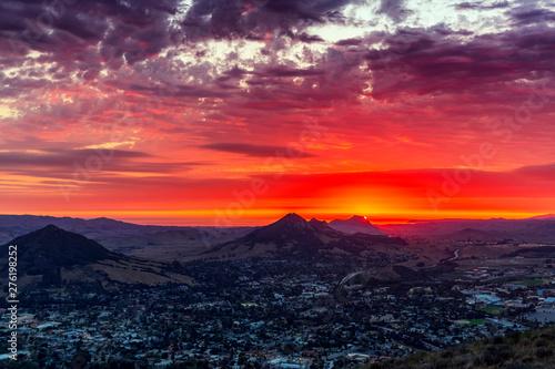 Orange, Red Sunset in Mountains