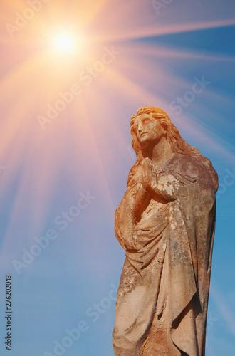 Obraz na płótnie Antique statue of Mary Magdalene praying. Fragment.