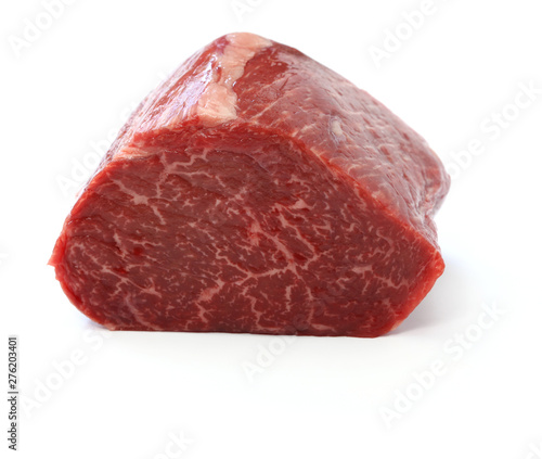 Photo raw beef rump block meat isolated on white background