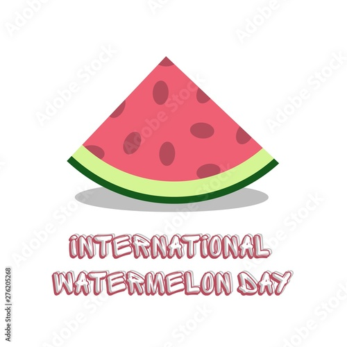 Staande foto Retro sign Vector slice watermelon. Fruit illustration for farm market menu design international watermelon day August 3 vector illustration