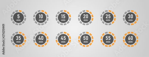 Obraz Timer icons set, twelve timer indicators from 5 minutes to 60 minutes, vector illustration. - fototapety do salonu