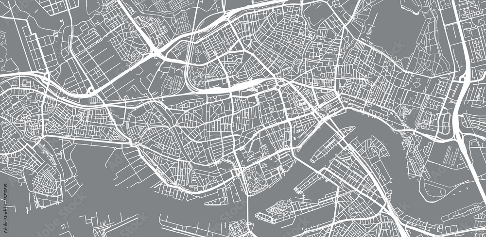 Fototapety, obrazy: Urban vector city map of Rotterdam, The Netherlands