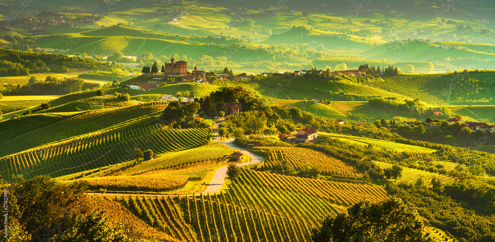 Fototapeta Langhe vineyards sunset panorama, Grinzane Covour, Piedmont, Italy Europe.