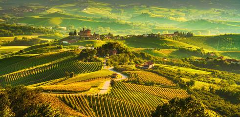 Langhe vineyards sunset panorama, Grinzane Covour, Piedmont, Italy Europe.