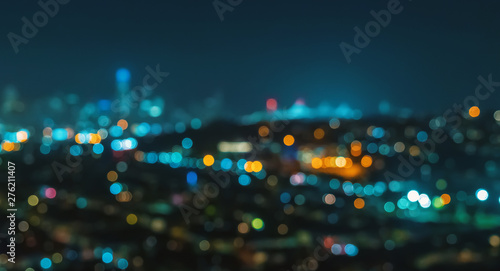Canvas Prints Countryside Blurred abstract bokeh background of San Francisco city lights at night